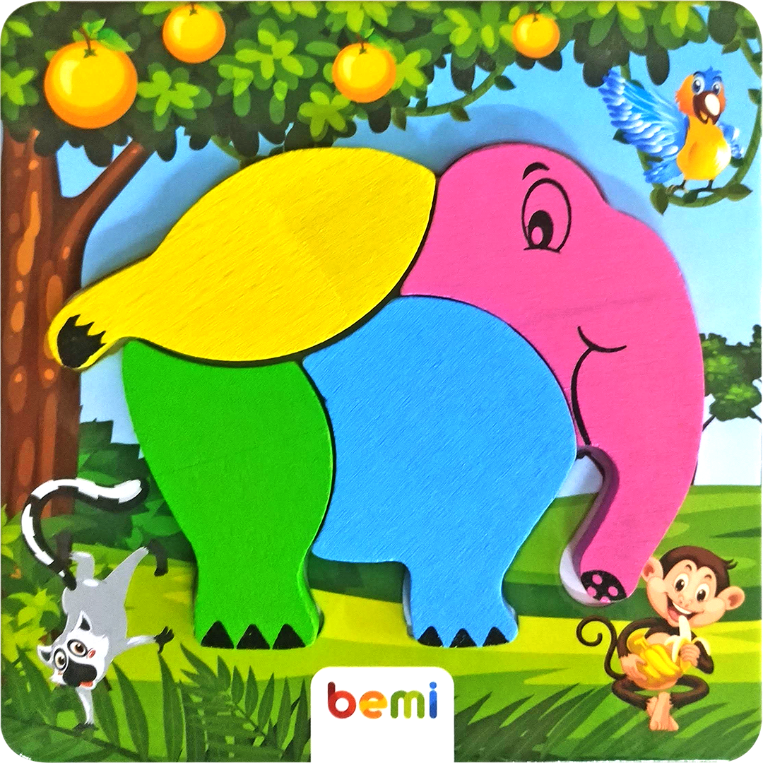 Cute Animals Elephant - Printed Puzzle